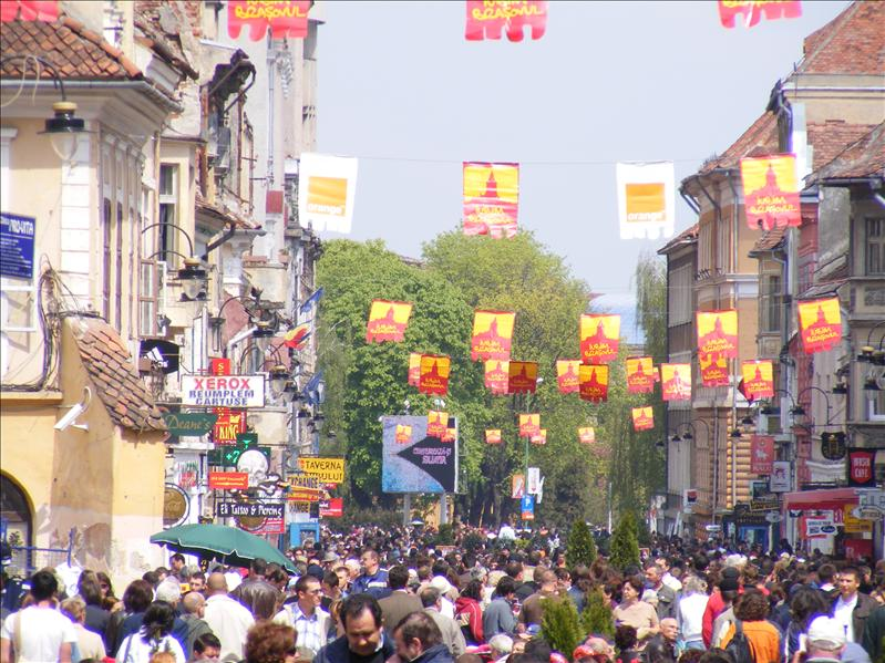 Republicii Street in Brasov, during a parade
