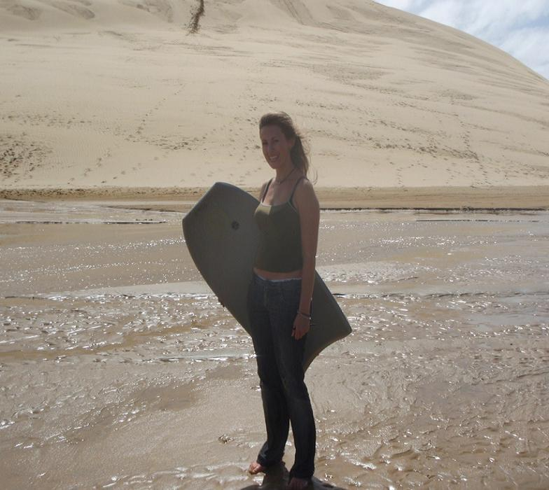 Me and my surf board at the dunes - I was the Champion! ;) Finally an extreme sport I like!!