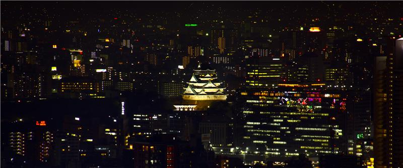 Osaka Castle viewed from Shin-Umeda Sky Building