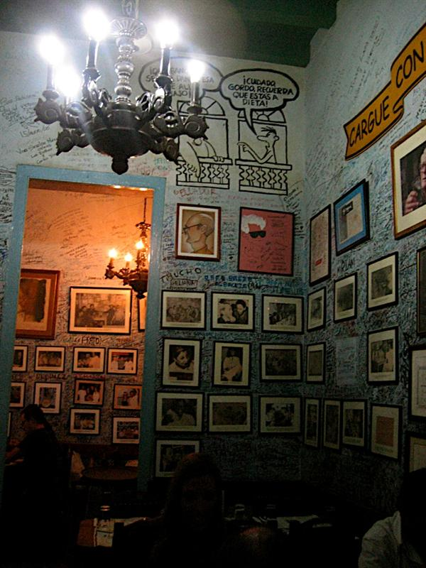 Deeper into the restaurant where there are tons of old pictures of movie stars, singers and signatures from people all over the world.