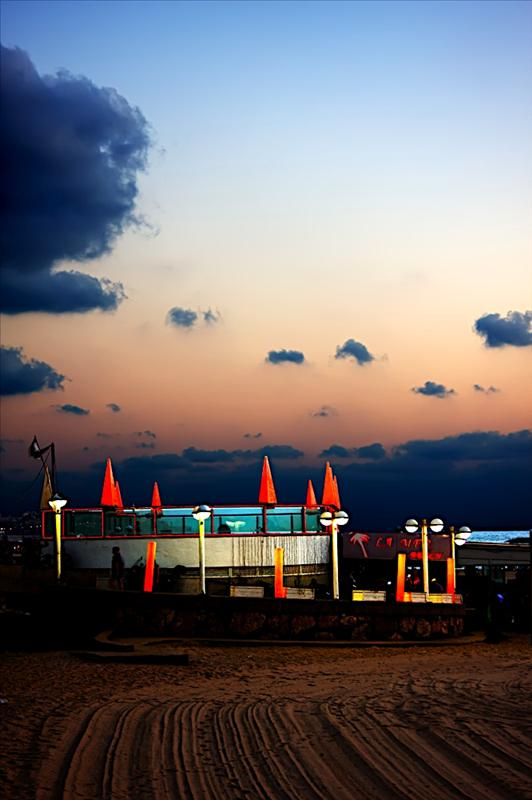 A Café during sunset in Tel Aviv