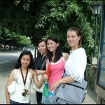 mei mei, ayi, madison, and kenton waiting for the bus!