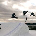 Snowboarders at The Canyons