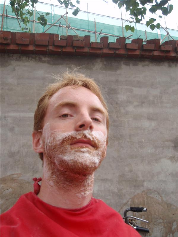 Foamed up for a shave