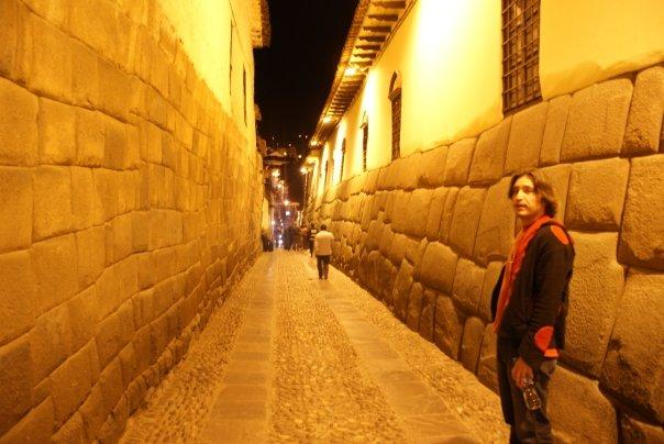 A narrow street lined by an Inca Wall. Same style of construction used through out the Inca empire