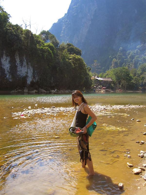 Walking across the river to go rock climbing