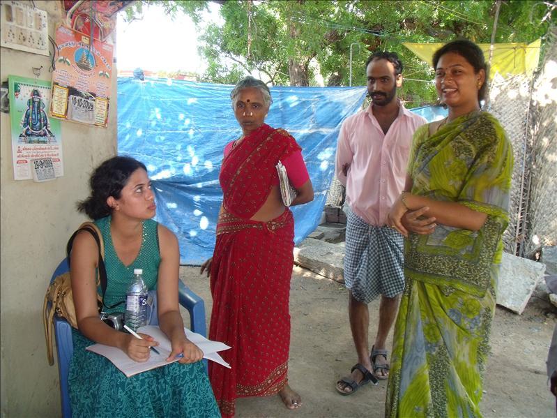Interviewing a stone carver family, Mahabalapuram.
