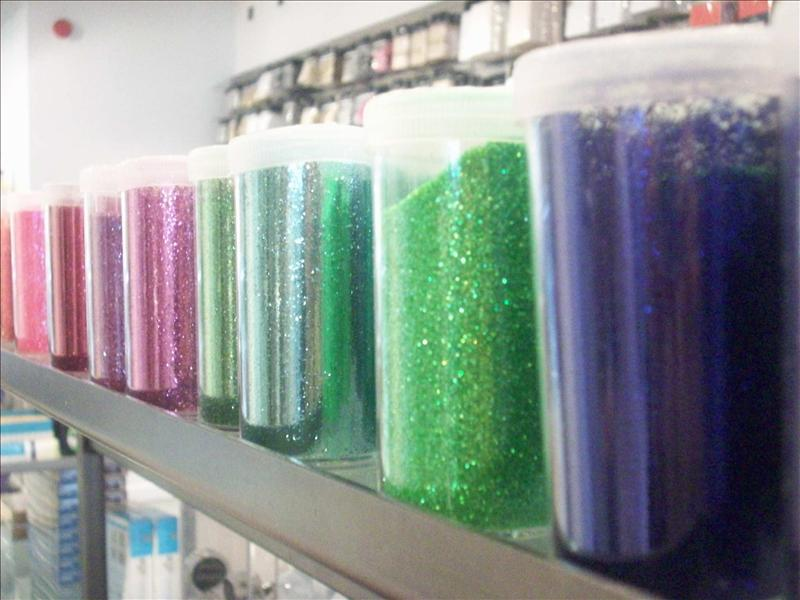 So many colorful pots of glitter