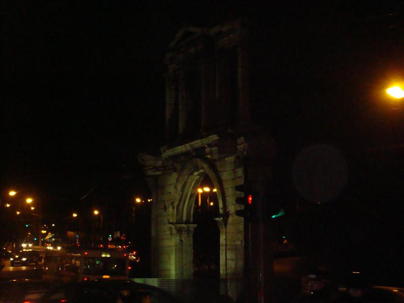 Arch into Zeus' temple at night