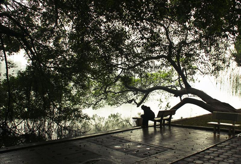 Loner at the Hoan Kiem Lake