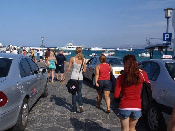the view of the port on mykonos.  heading toward the ferry.