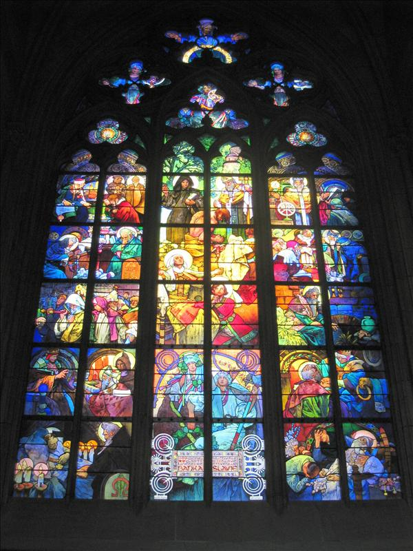 Stained glass inside the castle