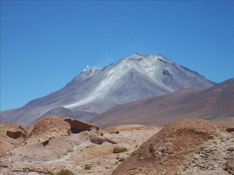 Active Volcano Ollague on the Chile-Bolivian Border