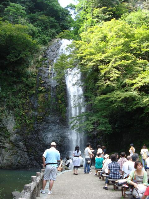 Waterfall and people