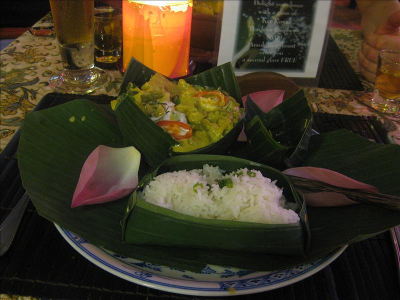 Traditional Khmer Fish Curry in Banana leaf
