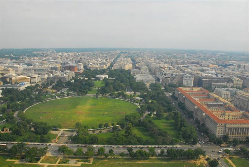 from washington monument, north view, white house