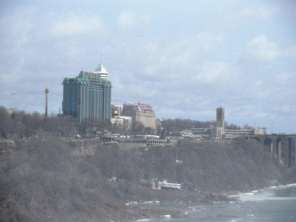 Sheraton-on-the-Falls and the casino towering over the cliff