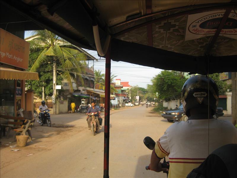 Riding a tuk-tuk in Cambodia