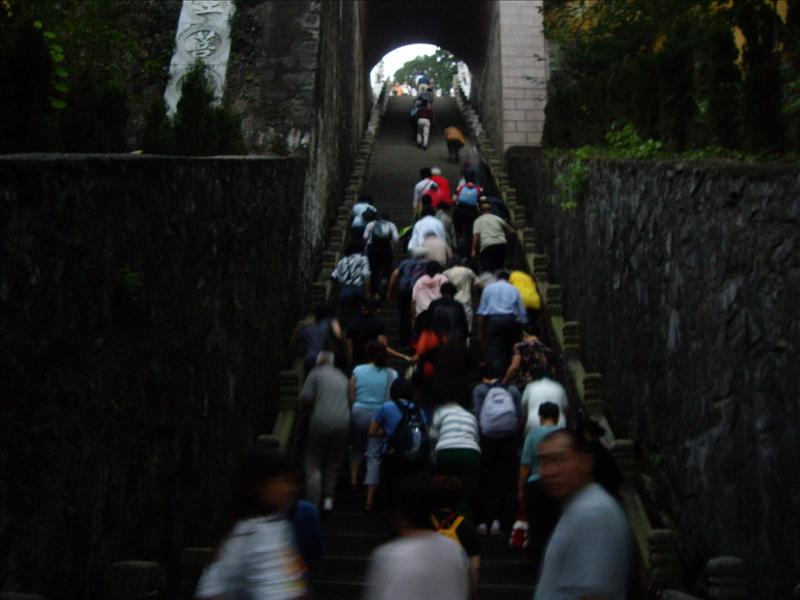 climbing up the flights of steps late at 6:30 pm