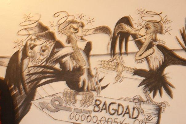 We had to eat. So, what an appropriate place to go? Cafe Bagdad....!