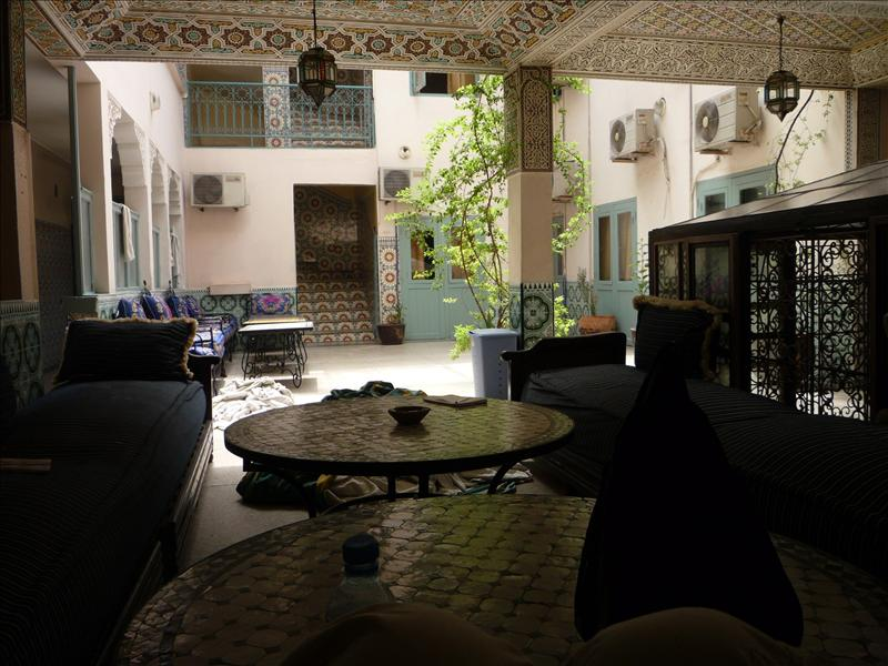 Common lounge area at the Oasis Hotel - Marakesh, Morocco.