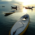 Paddle boarding for sunset