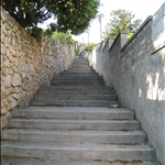 the mountain of stairs up to the hostel