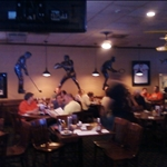 a sports bar, see the golfer on the wall?