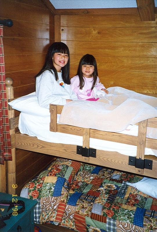 It was the first time the girls ever seen a bunk bed. Somehow they enjoyed crowding each other and slept in the upper bunk together.
