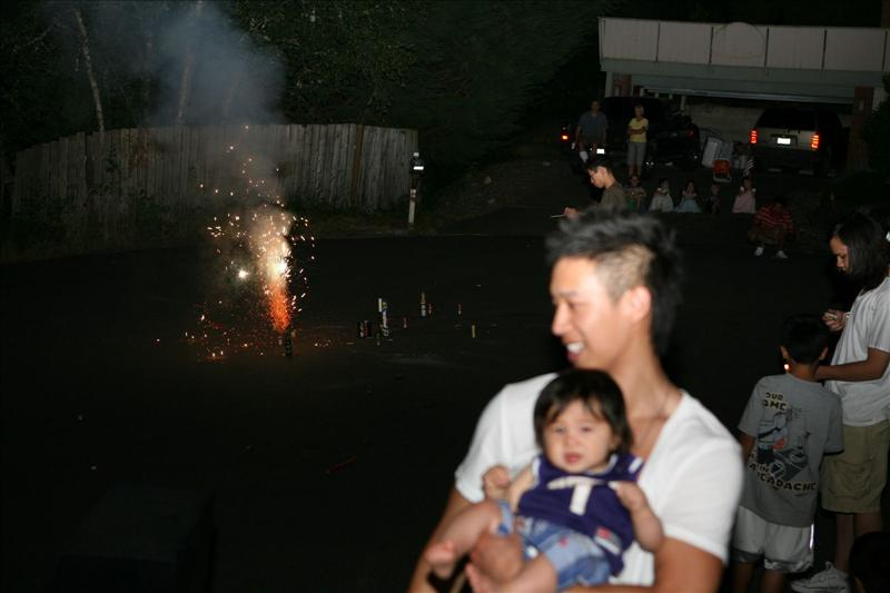 Jayden's first fireworks display.