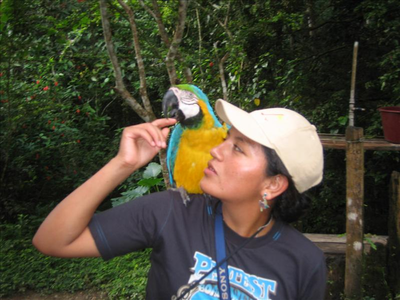 LAYDY PATRICIA WITH WOWIE, TAMBOPATA RESERVE, AMAZON