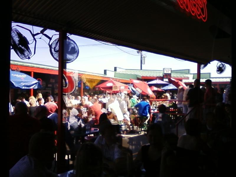 outdoors patio is outstanding with bands