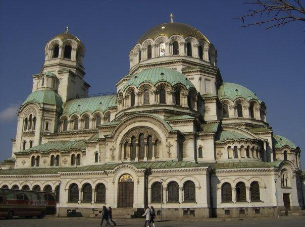The Alexander Nevsky Cathedral in Sofia, with pure gold domed roof.