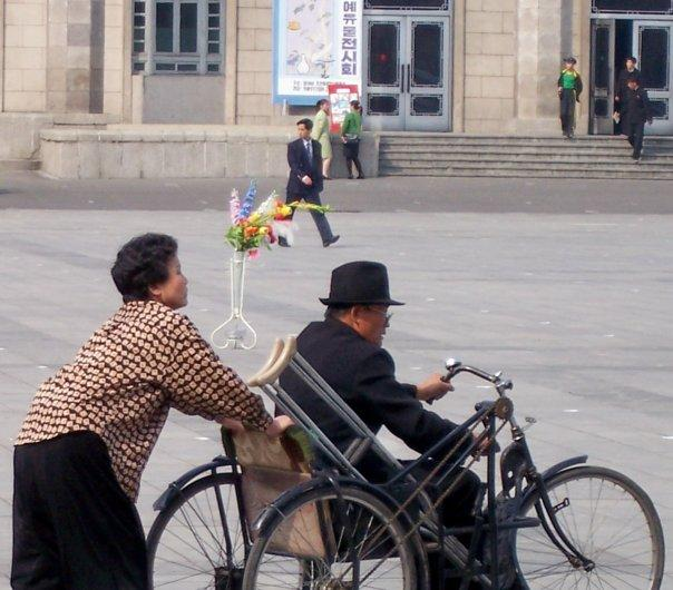 GOING FOR A WHEELIE, KIM IL SUNG SQUARE, PYONGYANG