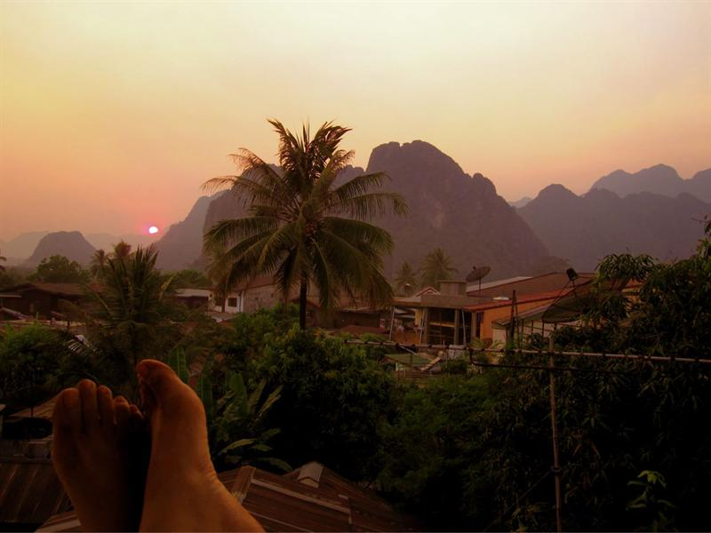 The view from my room in Van Vieng.