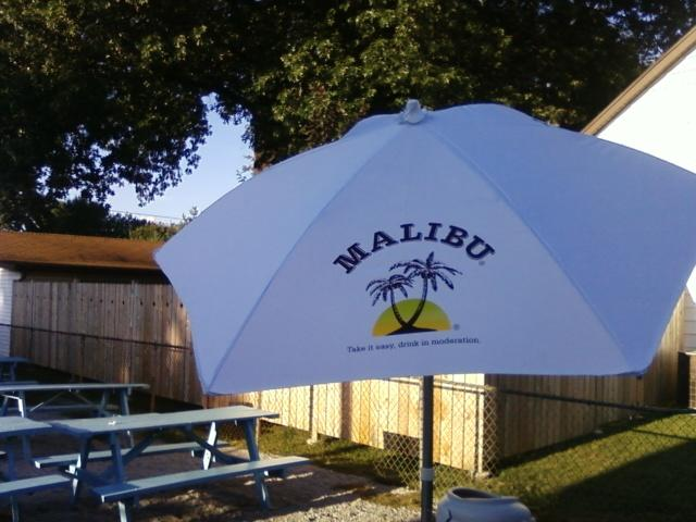 new umbrellas for the tables outside