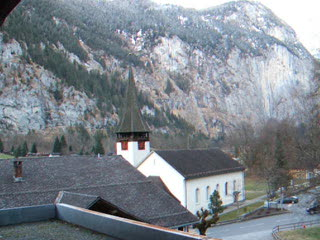 View from Hotel Staubach, Lauterbrunnen with Church Bells