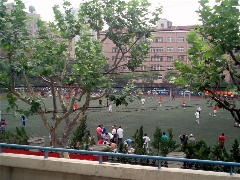 Morning soccer game in Shanghai
