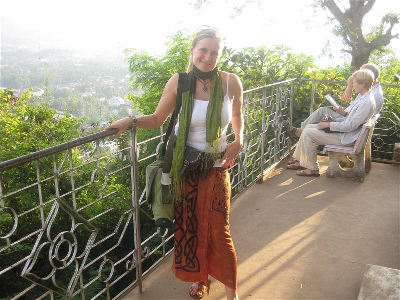 Sylvia on Phu Si Hil overlooking Luang Prabang