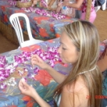 Making a Lei at Paradise Cove