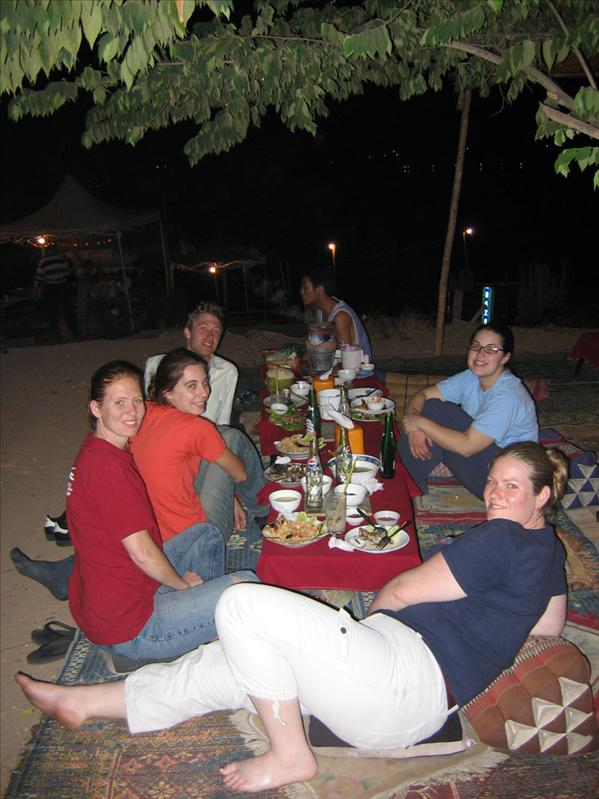 Traditional Lao dining along the riverside.
