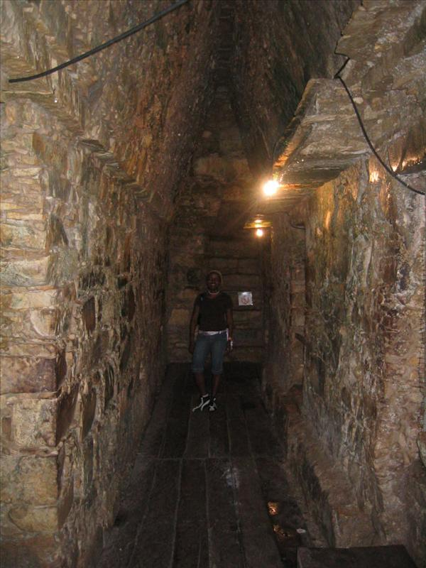 Inside one of the pyramids
