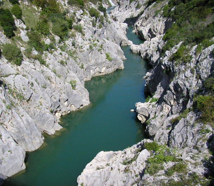 The impressive Gorge d Herault where we watched boys jumping in from a great height.