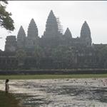 Girl at the lotus pond, Angkor Wat