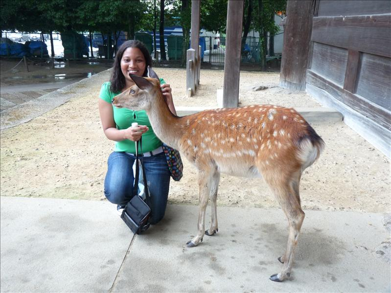 me petting Bambi