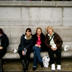 "our first mean from ""pret""-a sandwich and miso soup and we ate it in trafalgar square"
