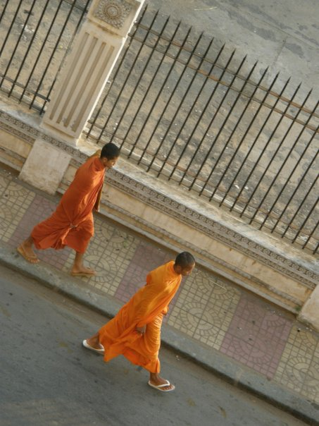 Monks out for their morning stroll.