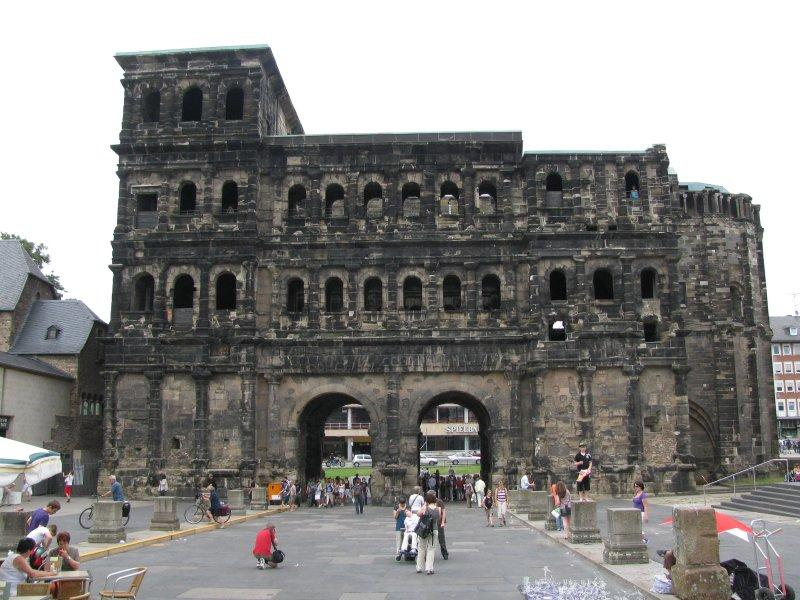 Trier has a most impressive  Roman entrance gate, Porta Nigra.