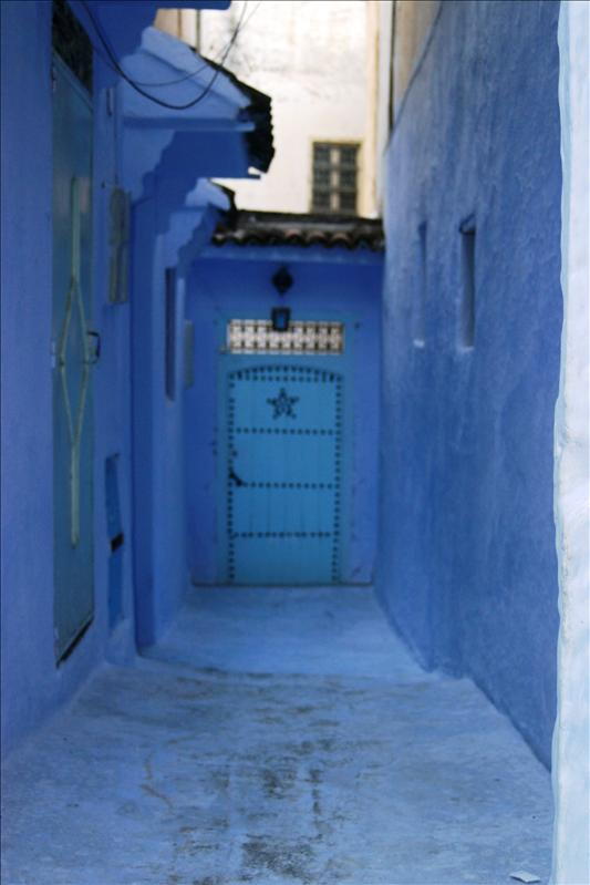 Blue cobble-stone alleyway, blue walls, blue door with blue star...very cool!