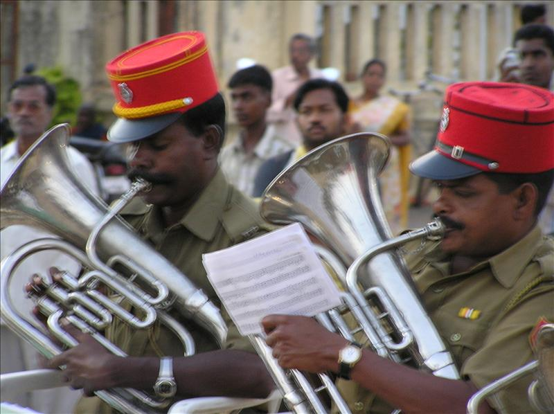 Police Band playing in the promanade, Pondi